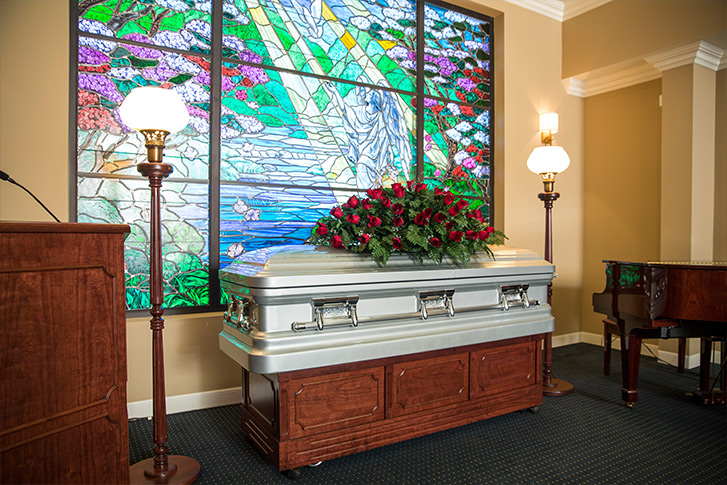 Funeral casket at Southern Cremations and Funerals at Cheatham Hill